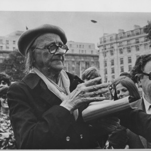 A woman (Aggie) preaches at Speakers' Corner