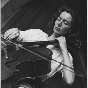 Amaryllis Fleming, cellist, at home in Chelsea
