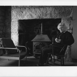Self-portrait by Serena Wadham inside her cottage at Middle Georgia Farm, Nancledra, Penzance.<br />