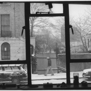 View from Serena Wadham's studio on a snowy day.<br />