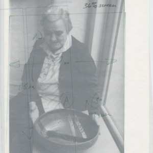 Janet Leach with a bowl<br /> includes the same image with a tracing paper overlay to show cropping of the image.