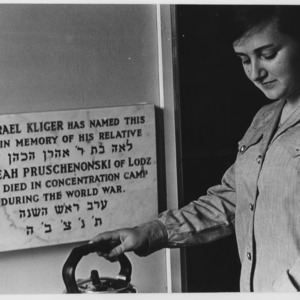 Jewish school, a plaque with a female staff member.